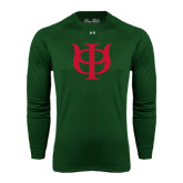 Under Armour Dark Green Long Sleeve Tech Tee-Interlocking Greek Letters