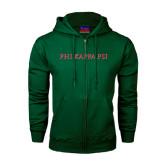 Dark Green Fleece Full Zip Hoodie-PHI KAPPA PSI