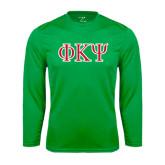 Performance Kelly Green Longsleeve Shirt-Greek Letters