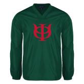 V Neck Dark Green Raglan Windshirt-Interlocking Greek Letters