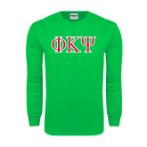Kelly Green Long Sleeve T Shirt-Greek Letters