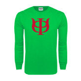 Kelly Green Long Sleeve T Shirt-Interlocking Greek Letters
