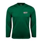 Performance Dark Green Longsleeve Shirt-Greek Letters