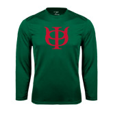 Performance Dark Green Longsleeve Shirt-Interlocking Greek Letters