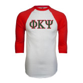 White/Red Raglan Baseball T-Shirt-Greek Letters
