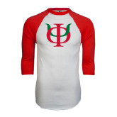 White/Red Raglan Baseball T-Shirt-Interlocking Greek Letters