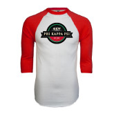 White/Red Raglan Baseball T-Shirt-Official Logo