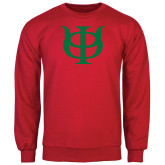 Red Fleece Crew-Interlocking Greek Letters