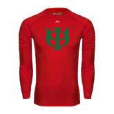 Under Armour Red Long Sleeve Tech Tee-Interlocking Greek Letters
