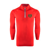 Under Armour Red Tech 1/4 Zip Performance Shirt-Interlocking Greek Letters