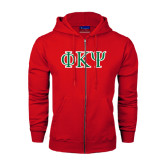 Champion Red Fleece Full Zip Hood-Greek Letters