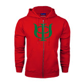 Champion Red Fleece Full Zip Hood-Interlocking Greek Letters