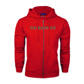 Champion Red Fleece Full Zip Hood-PHI KAPPA PSI