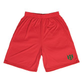 Syntrel Performance Red 9 Inch Length Shorts-Interlocking Greek Letters