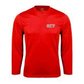 Performance Red Longsleeve Shirt-Greek Letters