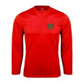 Performance Red Longsleeve Shirt-Interlocking Greek Letters