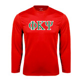 Syntrel Performance Red Longsleeve Shirt-Greek Letters