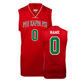 Replica Red Adult Basketball Jersey-Arched Phi Kappa Psi, Personalized w/ Name and Number