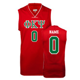 Replica Red Adult Basketball Jersey-Greek Letters, Personalized w/ Name and Number