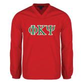 V Neck Red Raglan Windshirt-Greek Letters
