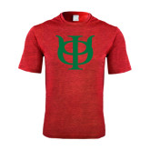 Performance Red Heather Contender Tee-Interlocking Greek Letters