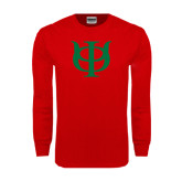 Red Long Sleeve T Shirt-Interlocking Greek Letters