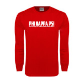 Red Long Sleeve T Shirt-PHI KAPPA PSI - A Tradition of Service and Excellence