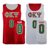Red/White Reversible Tank-Greek Letters, Personalized w/ Name and Number