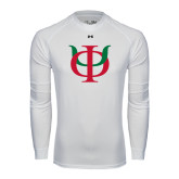 Under Armour White Long Sleeve Tech Tee-Interlocking Greek Letters