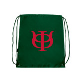 Dark Green Drawstring Backpack-Interlocking Greek Letters