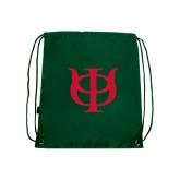 Dark Green Drawstring Backpack-Interlocking Greek Letters