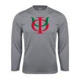 Performance Steel Longsleeve Shirt-Interlocking Greek Letters