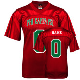 Replica Red Adult Football Jersey-Arched Phi Kappa Psi, Personalized w/ Name and Number