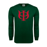 Dark Green Long Sleeve T Shirt-Interlocking Greek Letters