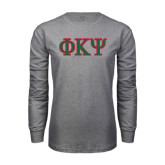 Grey Long Sleeve T Shirt-Greek Letters