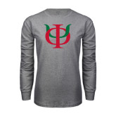 Grey Long Sleeve T Shirt-Interlocking Greek Letters