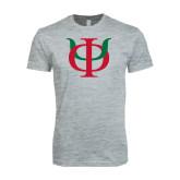 Next Level SoftStyle Heather Grey T Shirt-Interlocking Greek Letters