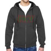Charcoal Fleece Full Zip Hoodie-Greek Letters