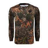 Realtree Camo Long Sleeve T Shirt w/Pocket-Interlocking Greek Letters
