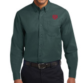 Dark Green Twill Button Down Long Sleeve-Interlocking Greek Letters