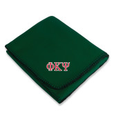 Dark Green Arctic Fleece Blanket-Greek Letters
