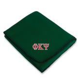 Dark Green Arctic Fleece Blanket-Greek Letters