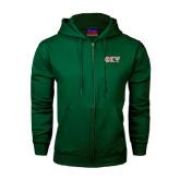 Dark Green Fleece Full Zip Hoodie-Greek Letters
