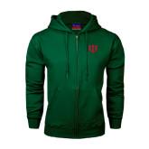 Dark Green Fleece Full Zip Hoodie-Interlocking Greek Letters