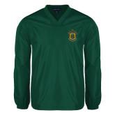 V Neck Dark Green Raglan Windshirt-Crest
