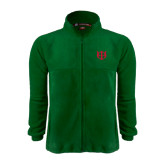 Fleece Full Zip Dark Green Jacket-Interlocking Greek Letters