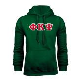 Dark Green Fleece Hood-Greek Letters Tackle Twill, Tackle Twill
