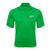 Kelly Green Textured Saddle Shoulder Polo-Greek Letters