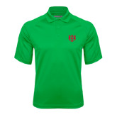 Kelly Green Textured Saddle Shoulder Polo-Interlocking Greek Letters