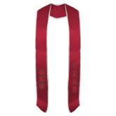Red Graduation Stole w/White Trim-Small Greek Letters Tackle Twill Stacked